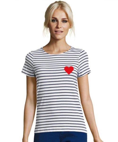 T-shirt mariniere coeur
