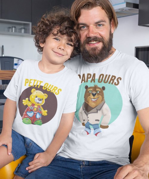 tee shirt papa ours et petit ours pack